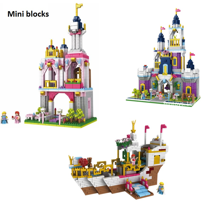 PZX Mini Blocks Plastic Building Toy Beautiful Castle Model brinquedos corsair Educational Kids toys for Children Gift