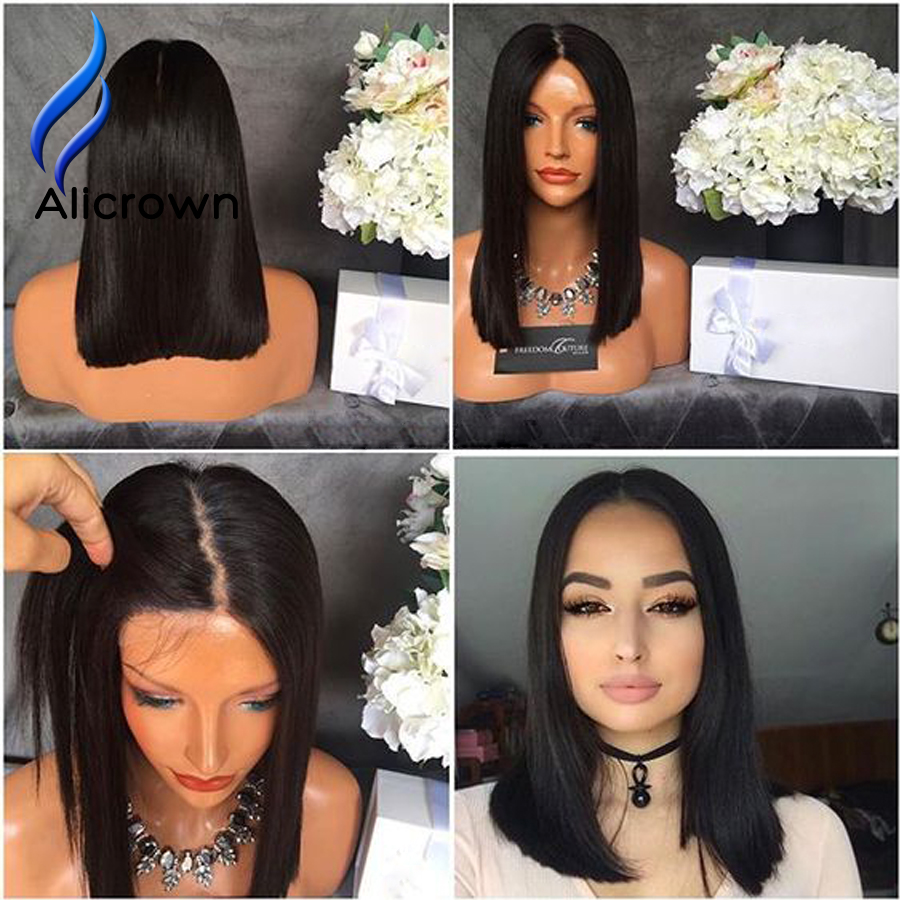 4x4 Silk Base Wig With Baby font b Hair b font Short Silk Top Full Lace