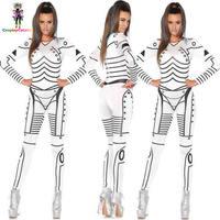 Deluxe Star Wars Killer Robot Print Halloween Costume Party Sexy Adult Women Catsuit Costumes Female Stormtrooper Rompers