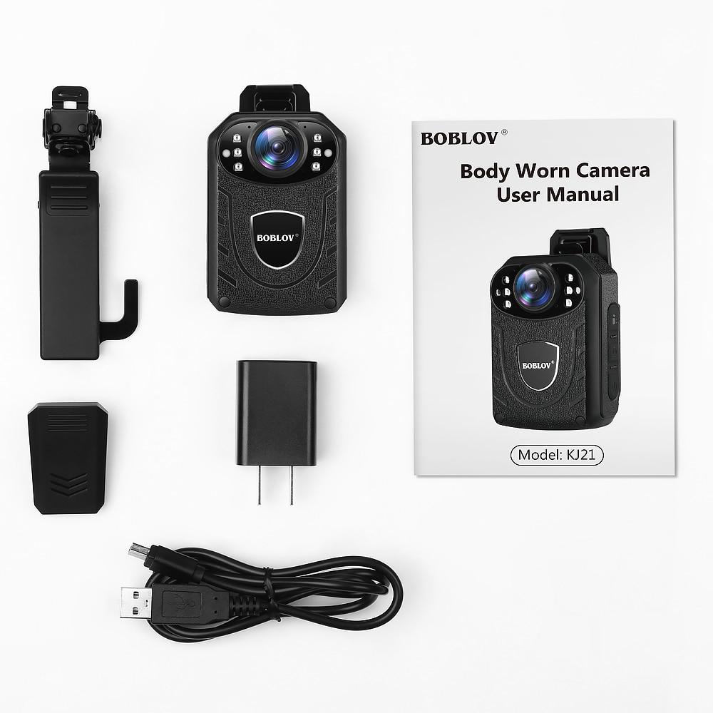 BOBLOV KJ21 128GB Police Camera HD1296P Micro Camera Wearable Body Cam Wide Angle 2 quot Screen Security Mini Comcorders in Mini Camcorders from Consumer Electronics