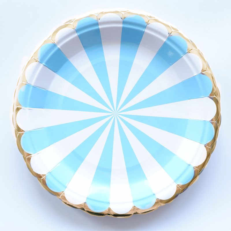10 pcs/lot Paper Plates Cups Blue Striped Happy Birthday Party Decorations Tableware Kids Birthday Decorations Favor Baby Shower
