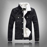 Men Motorcycle Jacket Winter Warm Fleece Denim Jacket Mens Jean Jacket Motorcycle Outwear Male Cowboy M 5XL