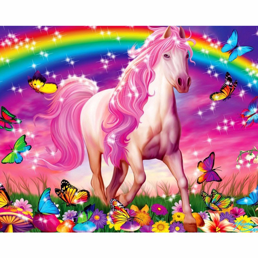 Craft Needlework Diy Handcrafts Butterfly horse Diamond Painting Children gift Diamond Embroidery Square Drill Mosaic AS580