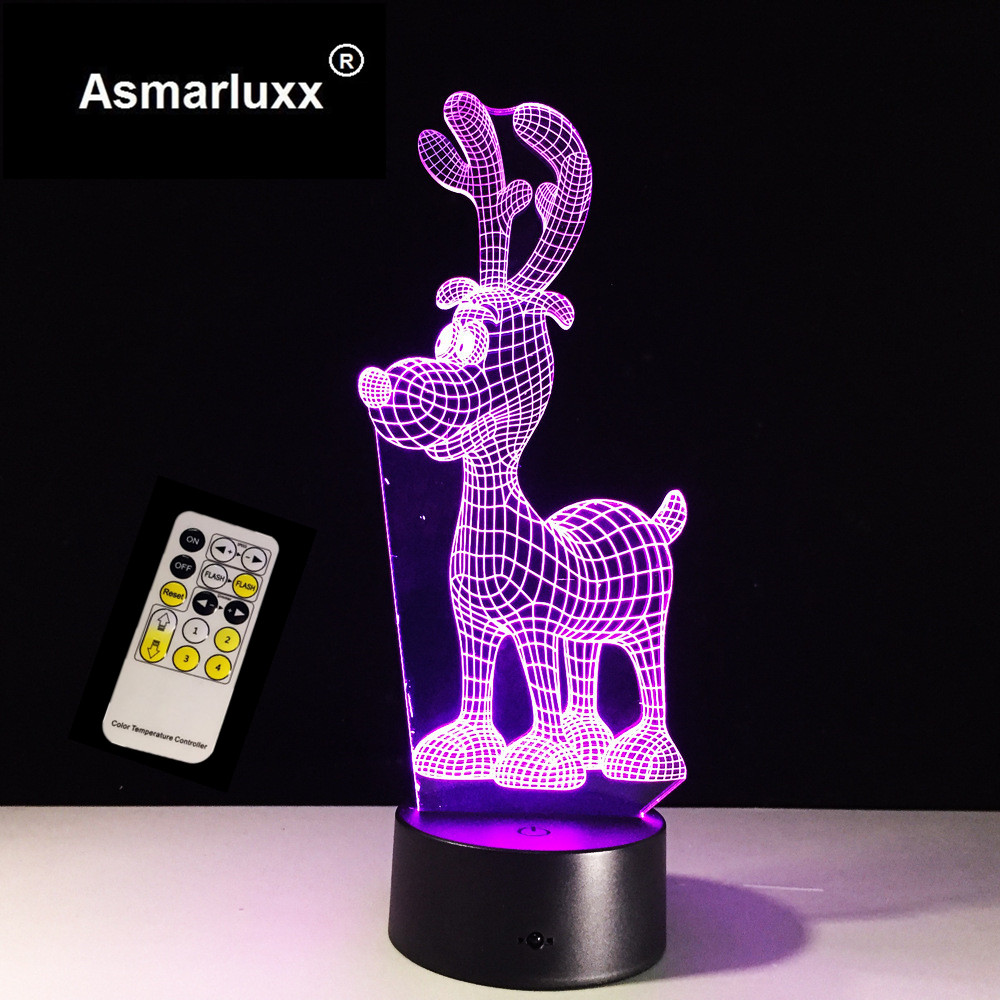 Deer 3D Night Light 7 Color Changing Remote / Touch Switch Usb Table Lampara Lampe Christmas Deer As Gift for Kids Gift 7 Colors
