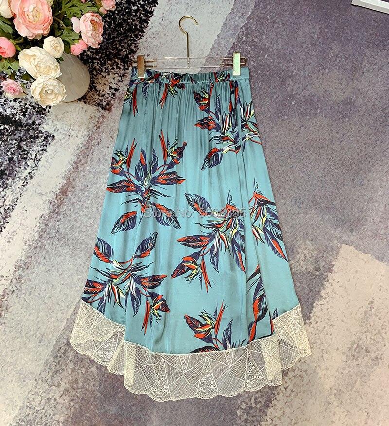 Jezioro niebieski zielony joslin raju spódnica iris kwiatowy drukowane spódnica trzy czwarte elastyczny pas koronki zdobione wykończenia nierówny brzeg spódnice w Spódnice od Odzież damska na  Grupa 2