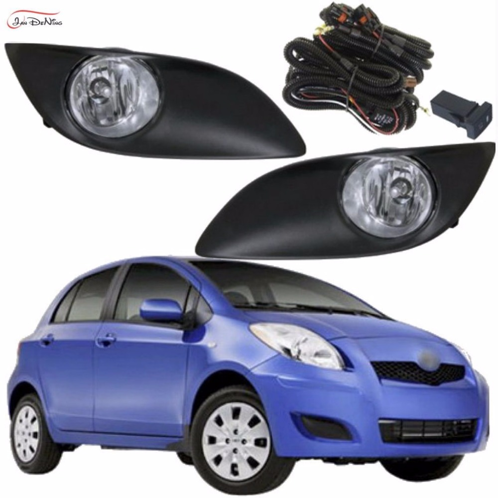 JanDeNing Car Fog Lights For Toyota Yaris Hatchback 2009-2011 Front Fog Lamp Cover Trim Replace Assembly kit black (one Pair) car fog lights lamp for mitsubishi triton 2 door 2009 on clear lens pair set wiring kit fog light set free shipping