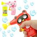 1 unids Animal encantador de la historieta jabón de burbujas de agua para el niño juguetes exterior niños Blowing Bubbles Toy pistola de burbujas Manual del ventilador