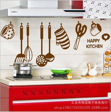 Restaurant Kitchen Background aliexpress : buy creative kitchen utensils home wall stickers