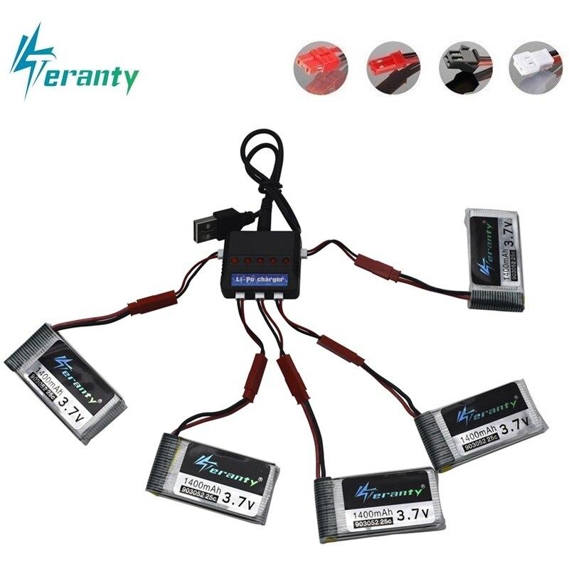 1400mAh 3.7V Bateria Lipo para T64 T04 T05 F28 F29 T56 T57 HQ898B H11D H11C RC Quadcopter 1200mAh 903052 3.7V bateria e carregador