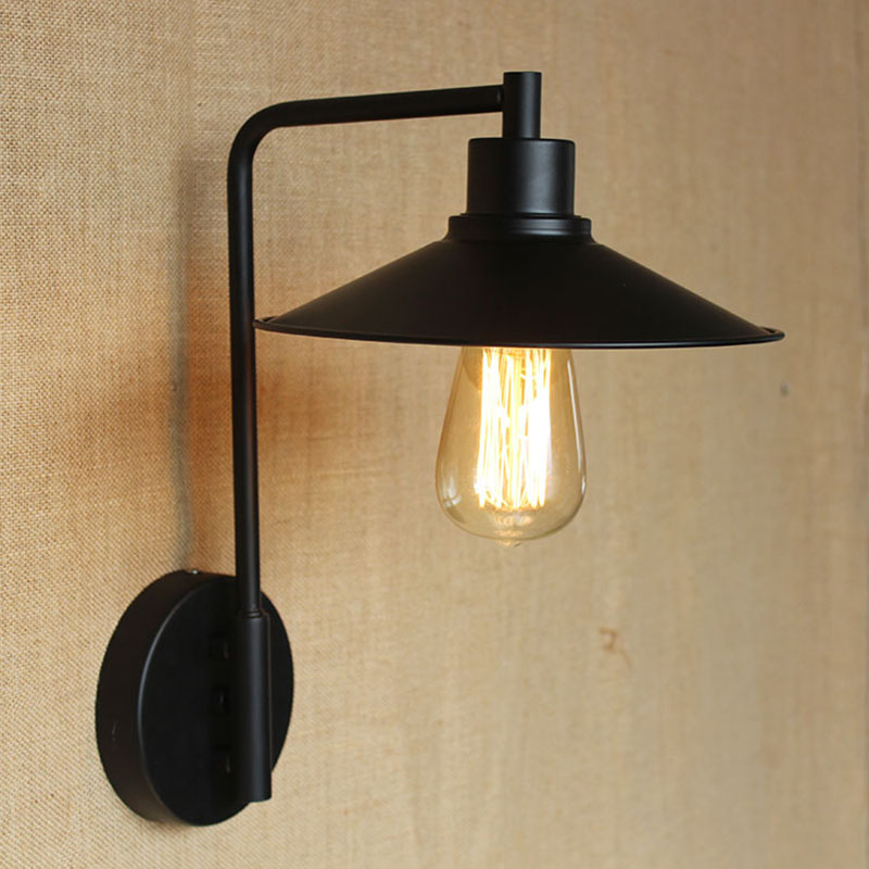 Loft Retro Vintage industrail metal wall lamp for hallway / study / bar counter / balcony / bedroom / livingroom E27