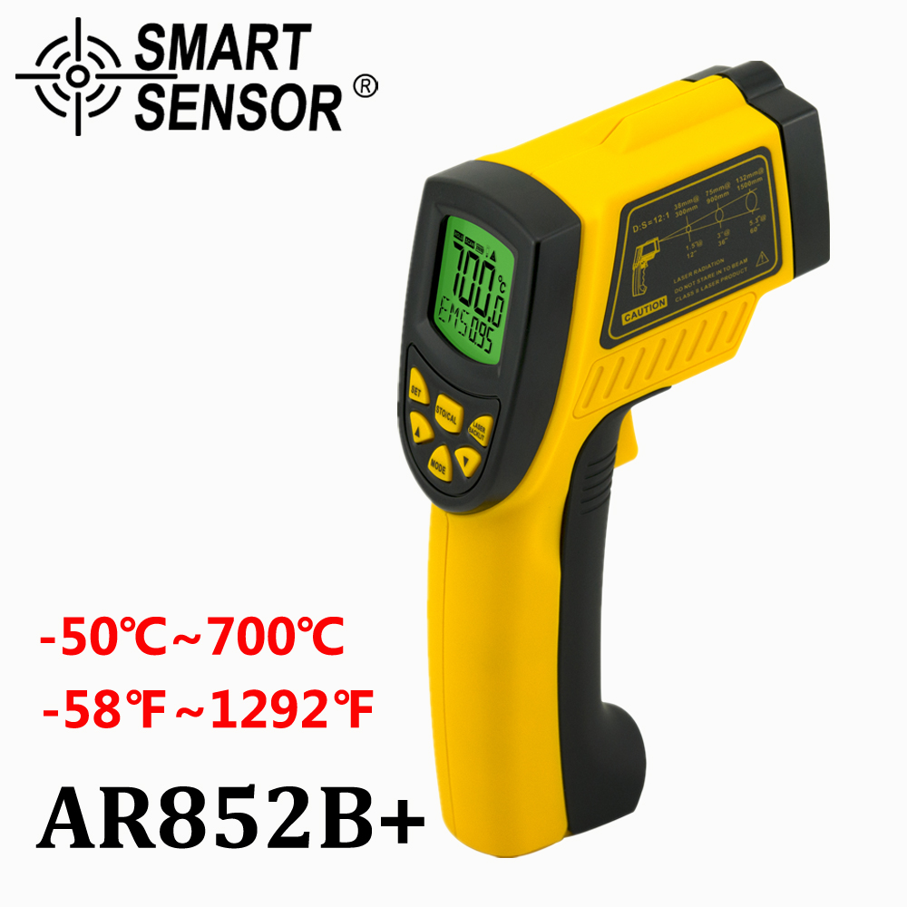 SmartSensor AR852B 12:1 digital Infrared thermometer -50~700C(-58-1292F) IR non-contact infrared thermometer temperature measure  измеритель освещенности smartsensor ar813
