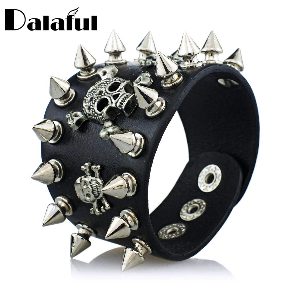 Եզակի Rock Spikes Rivet Gothic Skeleton Skull Punk Biker Wide Cuff Կաշվե ձեռնաշղթա S059
