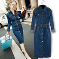 2017 mulheres dress vestidos manga comprida magro denim longo dress com cinto vintage sexy bodycon maxi dress mulheres oversize 4xl dress