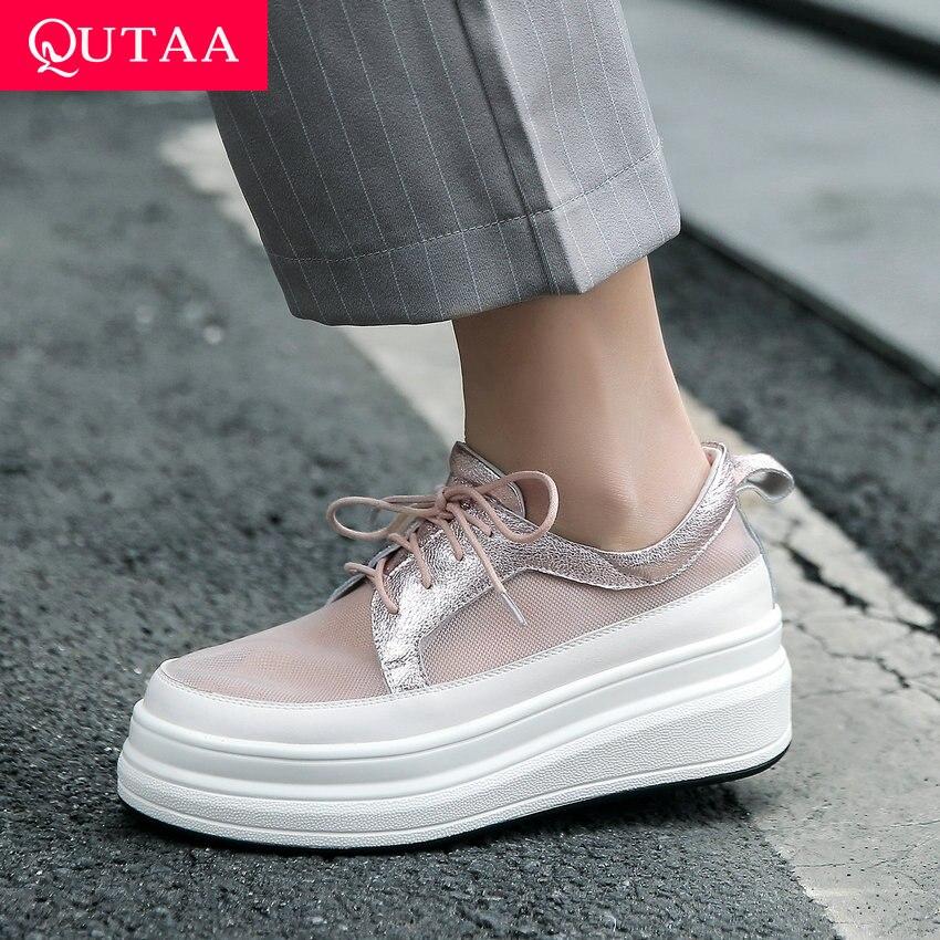 Ayakk.'ten Kadın Pompaları'de QUTAA 2019 Kadın Pompaları Koyun Derisi + Örgü Takozlar Yüksek Topuk Yuvarlak Ayak Dantel Kadar Rahat Kalın Tabanlı tek ayakkabı Platformu 3 cm Boyutu 34 42'da  Grup 1