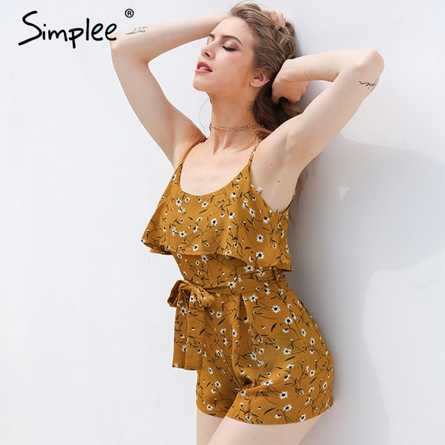 Simplee Boho chic women jumpsuit romper Ruffle backless sexy bodysuit summer beach Chiffon elegant overalls playsuit leotard