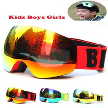 NewProfessional Brand Boys Girls Snowboard goggles Kids Ski Goggles Eyewear Double UV400 anti-fog skiing mask glasses 4-15 Years