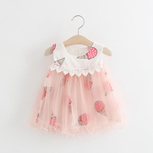 WYNNE GADIS Baby Girls Summer Ice Cream Sleeveless Mesh Princess A Line Dress Kids Party Sundress vestido infantil