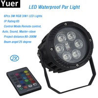 2Pcs/Lot Outdoor Par Lights 6X3W RGB Full Color LED Slim Par Cans 25 Degree Beam Angle 90 220V for ktv bar disco family party