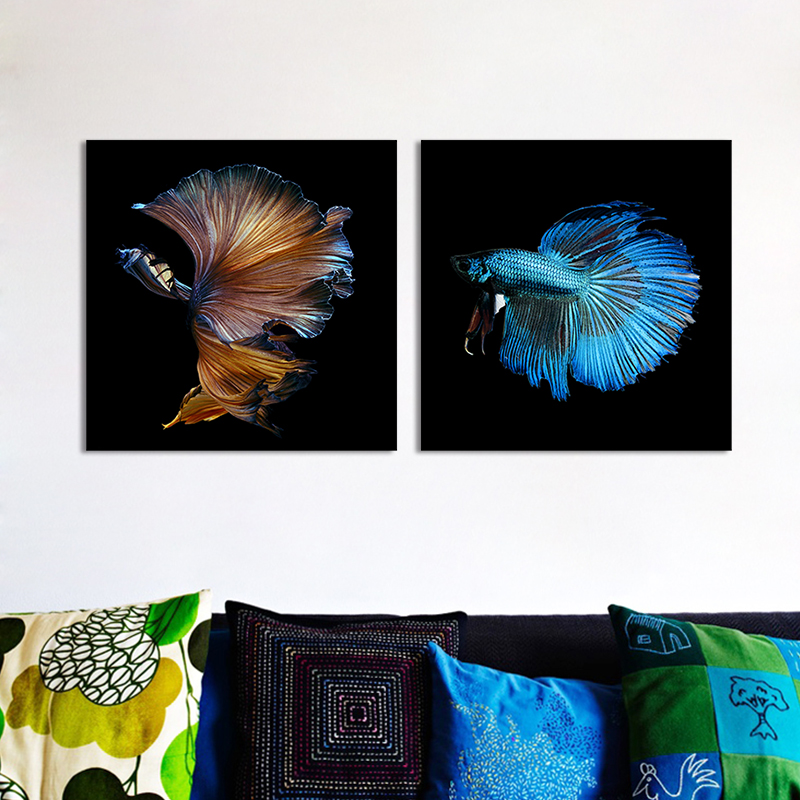 fashion cool dieren vechten vis blauw goud decoratie wall art pictures canvas schilderijen voor woonkamer interieur unframed in fashion cool dieren vechten