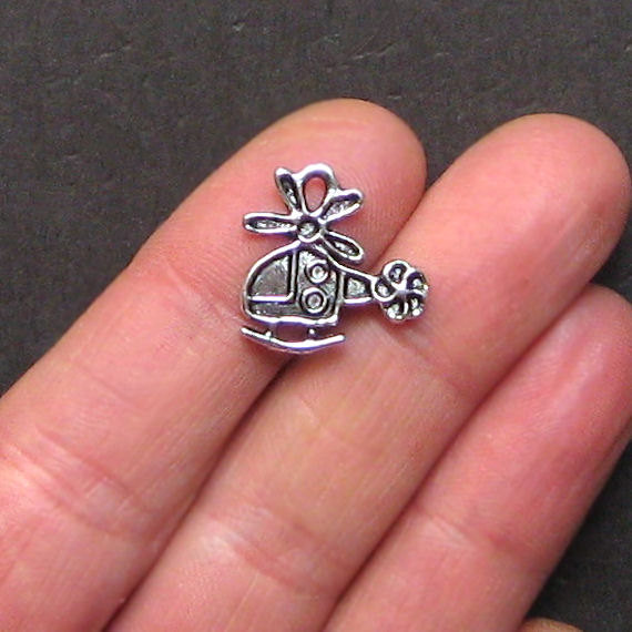10pcs/lot 19mm x 18mm Helicopter Charms Antique Silver Tone for diy charms jewel