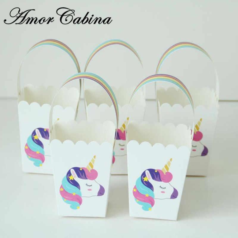 50 шт единорог Радуга маленькая свежая коробка конфет бумажная Подарочная сумка Свадебная волна сумка с узором сумка Детские Банные принадлежности детский день рождения