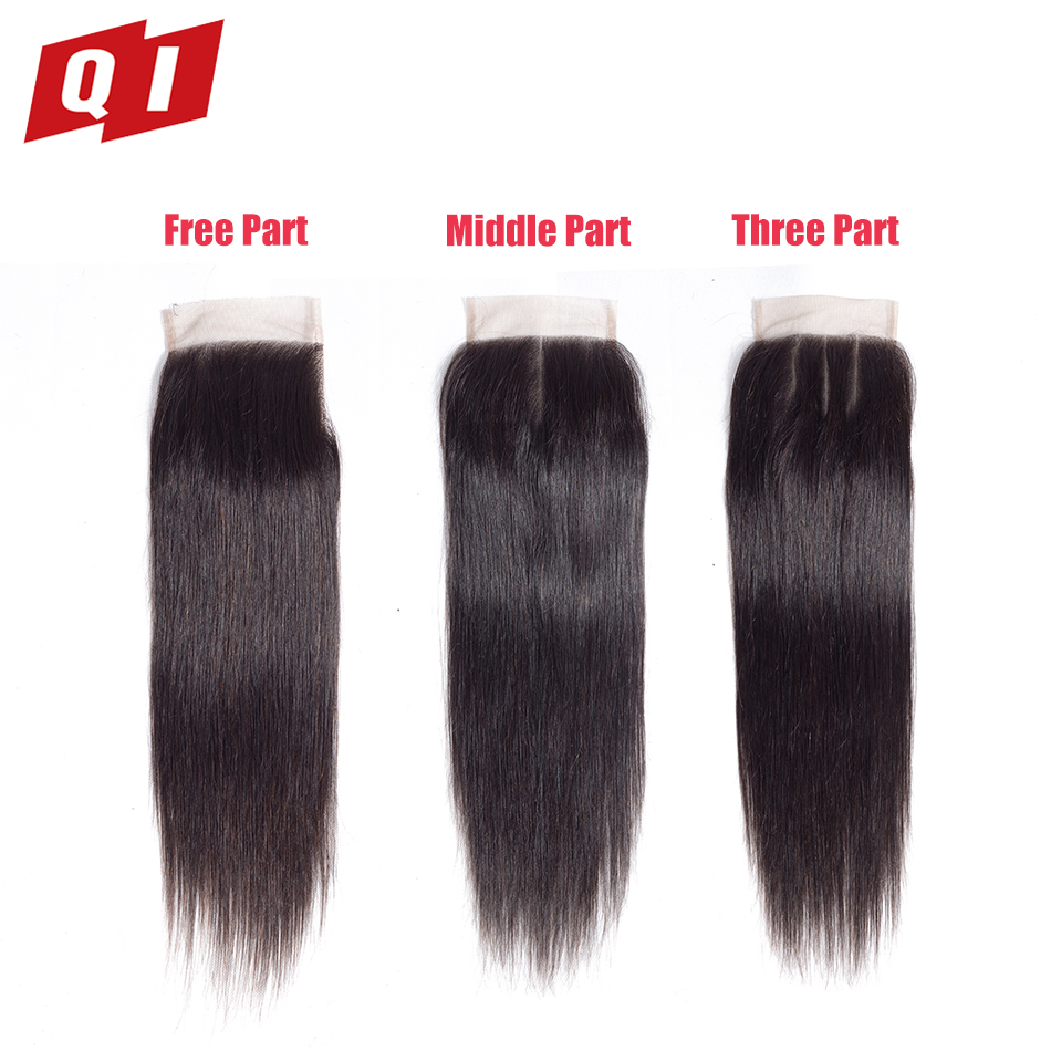 QI Hair Malaysian Straight 8-20 Lace 4*4 Closure 100% Human Hair Free/Middle/Three Part Non Remy Natural Color Free Shipping