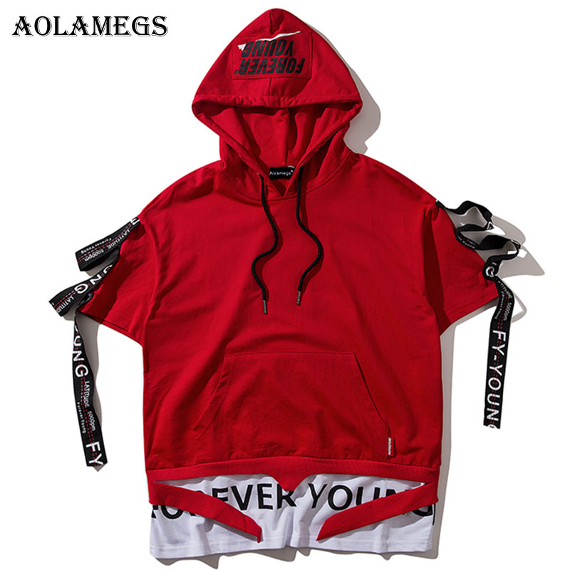 Aolamegs T Shirt Men Ribbon Hooded Men's T-Shirts Short Sleeve High Street Summer Hip Hop Casual Cotton Tops Tees Streetwear