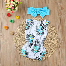 2PCS Newborn Summer 2019 Baby Girl Clothes Fashion Floral Print Tassel Romper+Headband Baby Girl Set Infant Baby Clothing Ropa(China)
