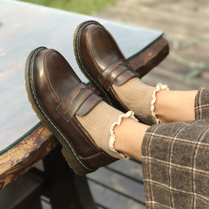 Retro British Oxford Shoes for Women Genuine Leather Shoes Women Flats Slip on Flat Shoes Woman
