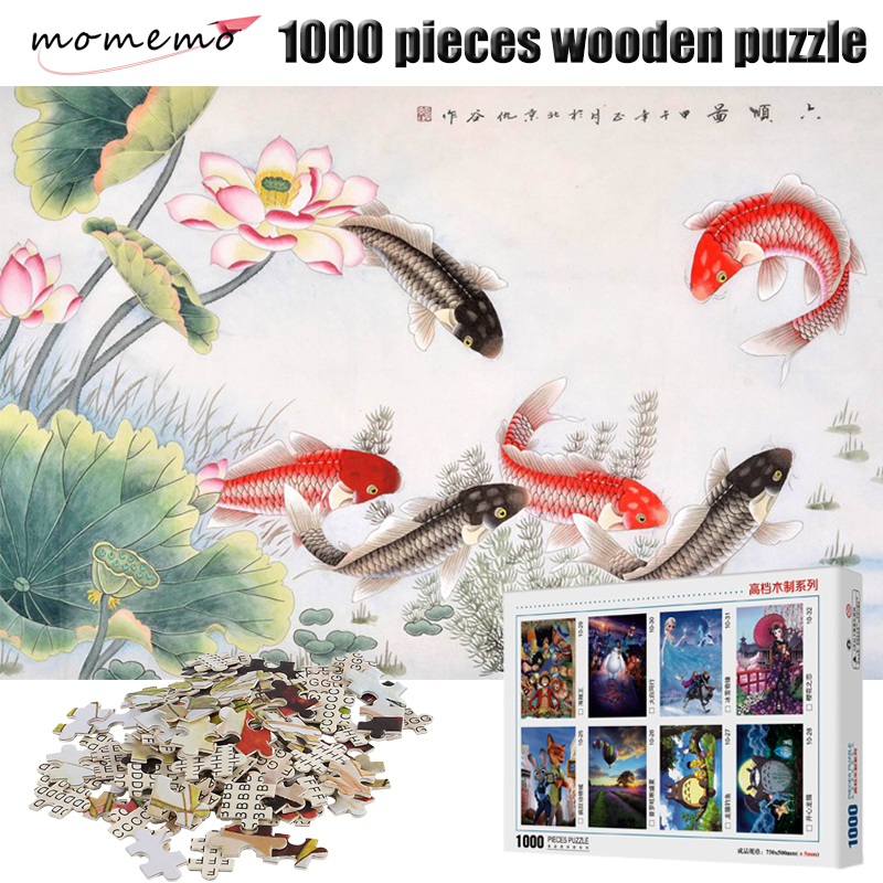 MOMEMO Carp In Water Wooden Puzzle Toy 1000 Pieces Puzzle Adult Jigsaw Puzzles 1000 Puzzles for Children Kids Adult Toys in Puzzles from Toys Hobbies