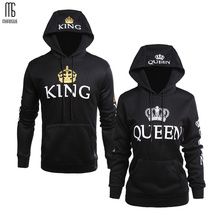 Manoswe Men Fall Winter Clothing Women Casual Wear Couple Sweatshirts Lettered Pattern QUEEN KING Print Long Sleeves Hoodie Tops