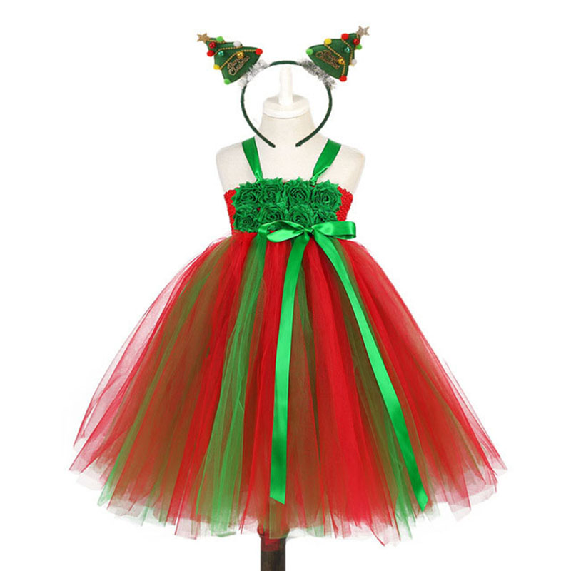 Christmas Green Dress.Red Green Christmas Party Tutu Dress For Kids Children Baby Girl Clothes Flower Girl New Year Party Tulle Tutu Dresses Outfit