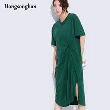 купить Hongsonghan Pleated Irregular dress women casual Pure color both Side hem Slit short sleeve dress summer basic women clothing по цене 1432.89 рублей