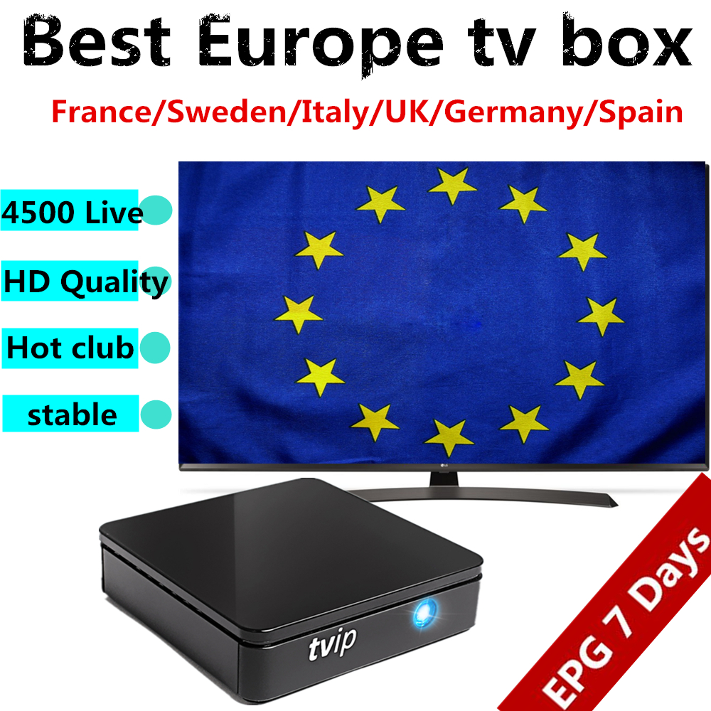 TVIP 412 tv box with android Linux OS+1 year Sweden itlay UK Spain English iptv subscription 4500 live xxx iptv free shipping