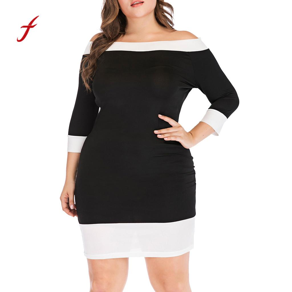Women Casual Long Sleeve Off Shoulder strapless robe femme elbise Top Plus Size summer style Mini Dress