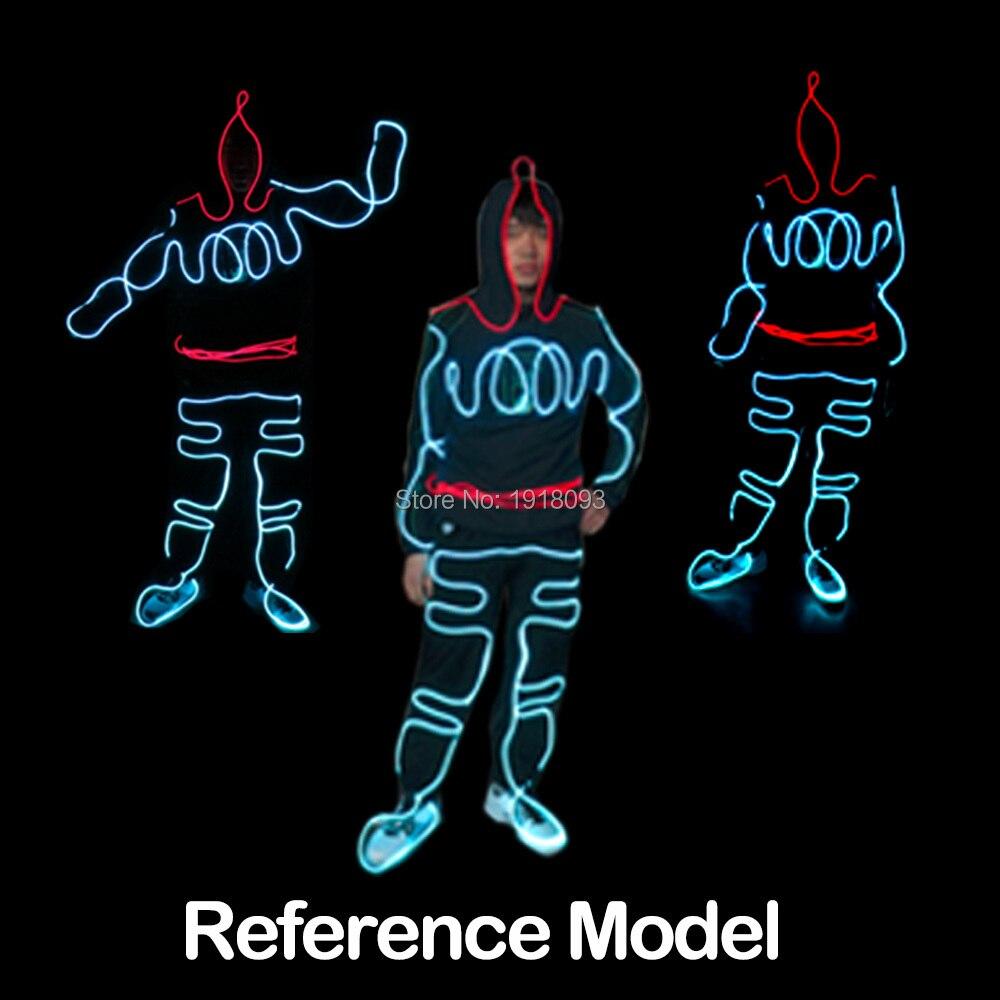 Mode LED EL Costumes bricolage EL vêtements LED néon pour danse DJ discothèque Talent Show EL Costumes avec inverseur 12 V