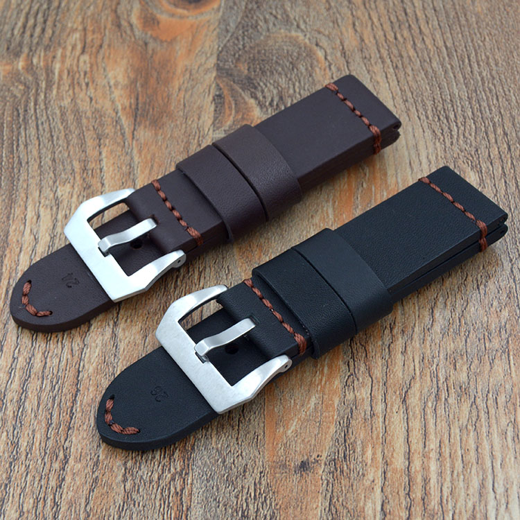 Men's Black Brown 22mm 24mm 26mm Calf Skin Genuine Leather Watch Band With Watch Buckle For Panerai Watch Strap Free Shipping все цены