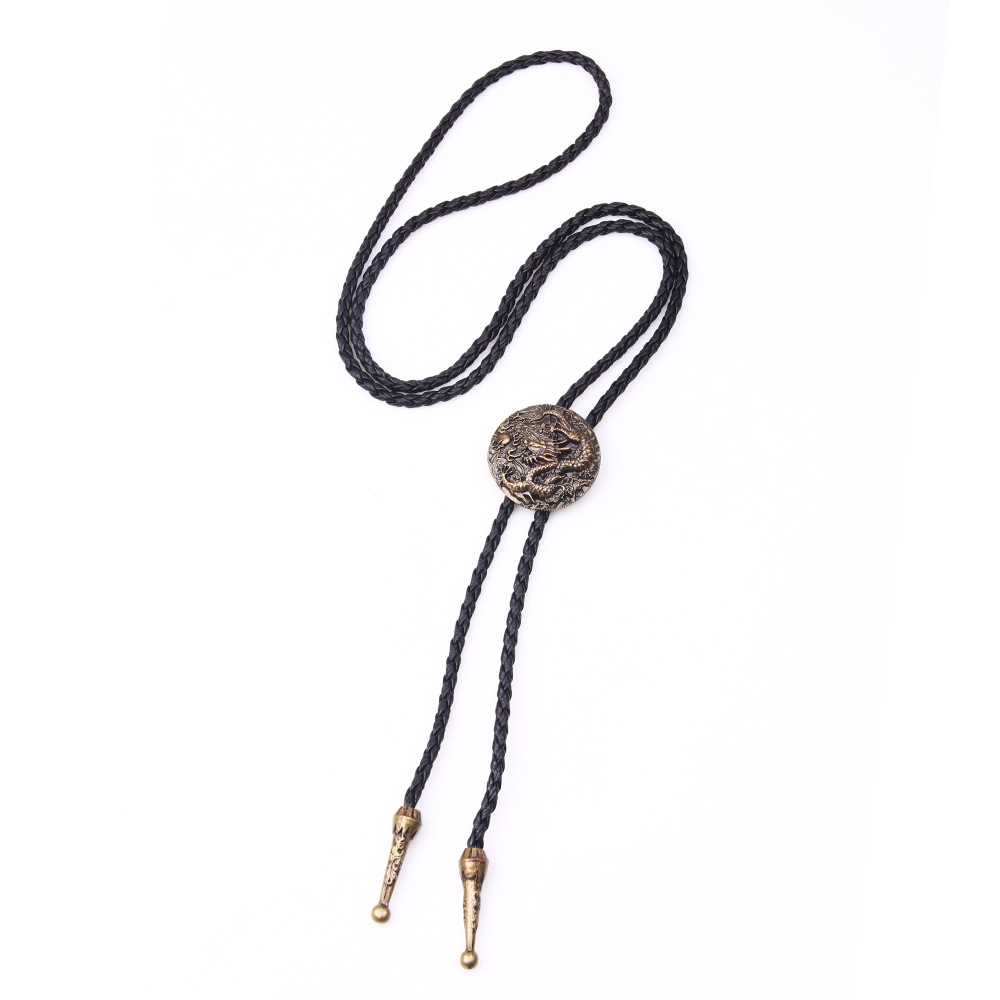 Novelty  Bronzed Chinese Dragon Ethnic Style Men Women Bolo Tie Leather Chain Sweater Shirts Chain