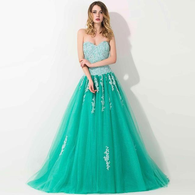 100% Real photo sweetheart ball gown Prom dress Lace applique proms ...