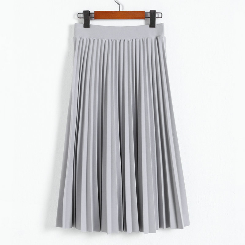 A-Line Pink Gray Black Pleated Skirt 10