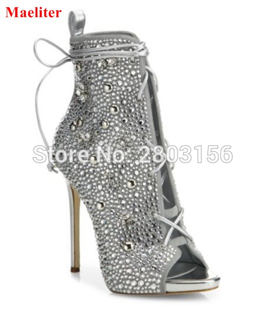 Hot Selling Crystal Cut Outs Party Shoes Woman Peep Toe Booties Lace Up Stiletto High Heels Rhinestone Ankle Boots woman beautiful royal blue wedges sandal summer sexy cut outs design charming tassels ankle lace up peep toe female party shoes