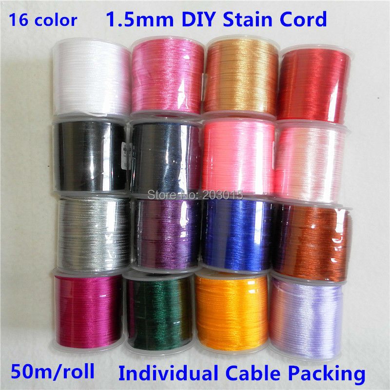 Chenkai 50 Meters/roll 1.5mm Nylon Satin Cord DIY Silicone Baby Teething Nursing Beads Jewelry Toy Cords