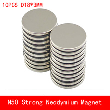 wholesale 10PCS D18*3mm N50 powerful magnetic force neodymium magnets round magnet N50 diameter 18X3MM 20pcs pack d18 3mm magnetic materials neodymium magnet mini small round disc for 2018