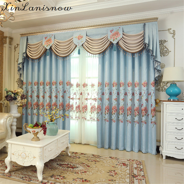 High End Garden Modern Simple Korean Sky Blue Embroidery Curtains For  Living Dining Room Bedroom