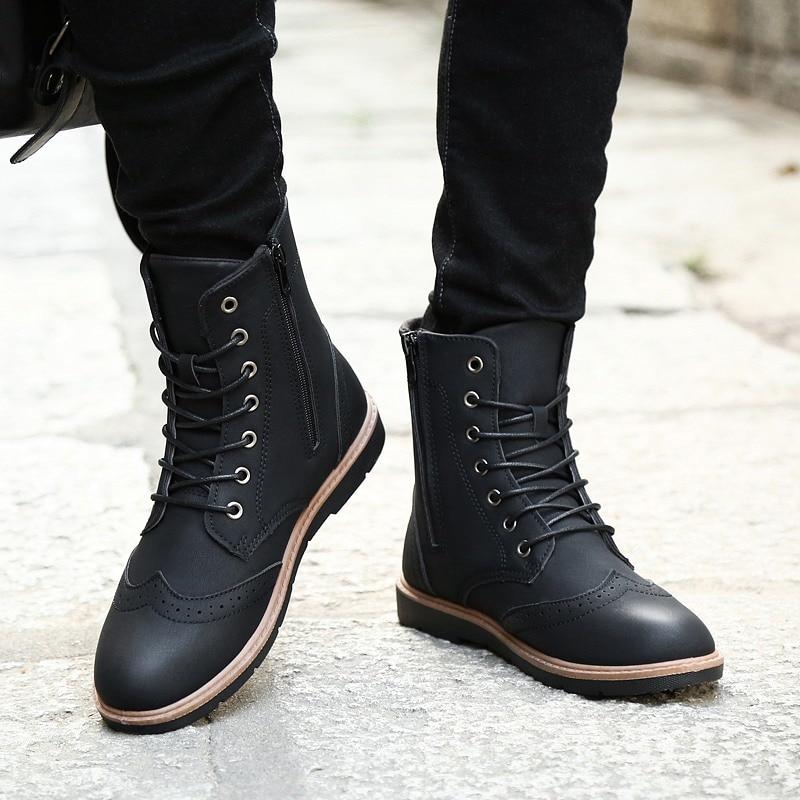 Luxus Mens Hohe Leder Stiefel Neue Mode Frühjahr Schuhe für Männer Bequeme Jungen Junge Casual Stiefel Wearable Kühlen männer schuhe - 5