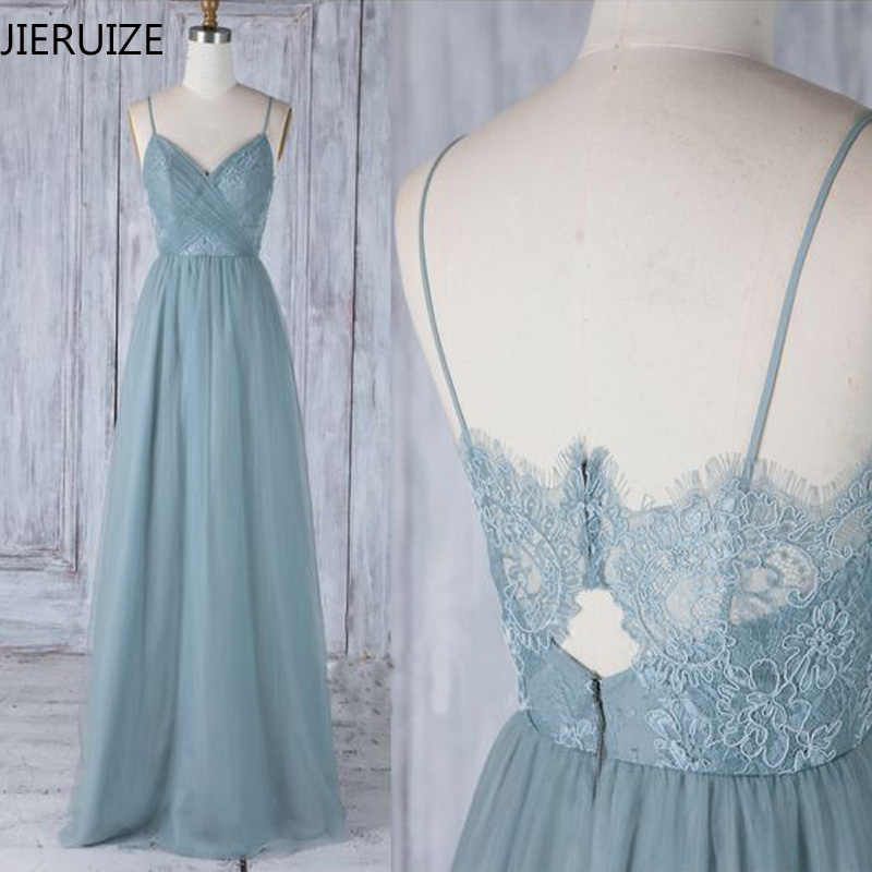 JIERUIZE Blue Lace Sexy Evening Dresses Long 2018 A-line V-neck Prom Party Dresses Spaghetti Straps Formal Dresses  robe longue