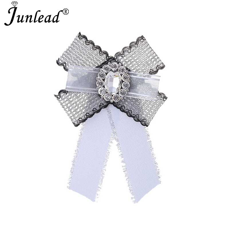 3d8eba48f5f Junlead Shirt Dress Collar Tie Brosches Corsage Broch Pins Jewelry  Accessories Spring Big Crystal Lace Bow