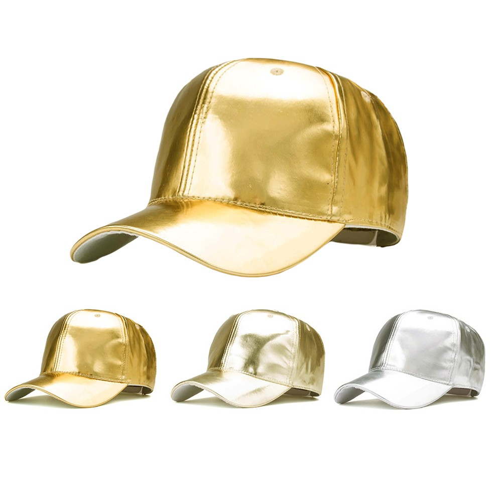 Gold Silver   Baseball     Cap   Fashion Hot Unisex Man Woman Champagne Sparkling Shiny Adjustable Outdoor Sun-proof Snapback Hat #O