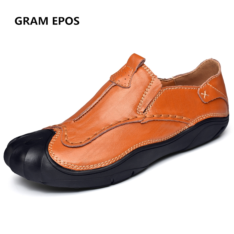 GRAM EPOS 2018 Men round toe comfort Flats  Genuine Leather business Flat Shoes Men Oxford slip on Dress Shoes Work Shoe Sapatos стоимость