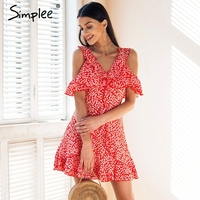 Simplee V Neck Floral Print Mini Dress Ruffle Frill Strap Short Summer Dress Sexy Backless Tie